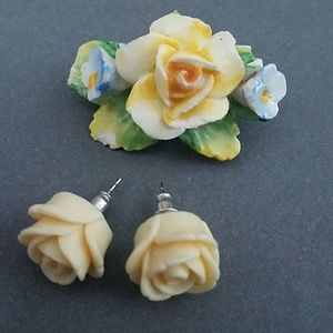 Jewelry - Vintage Artbone Floral Earring & Pin Set